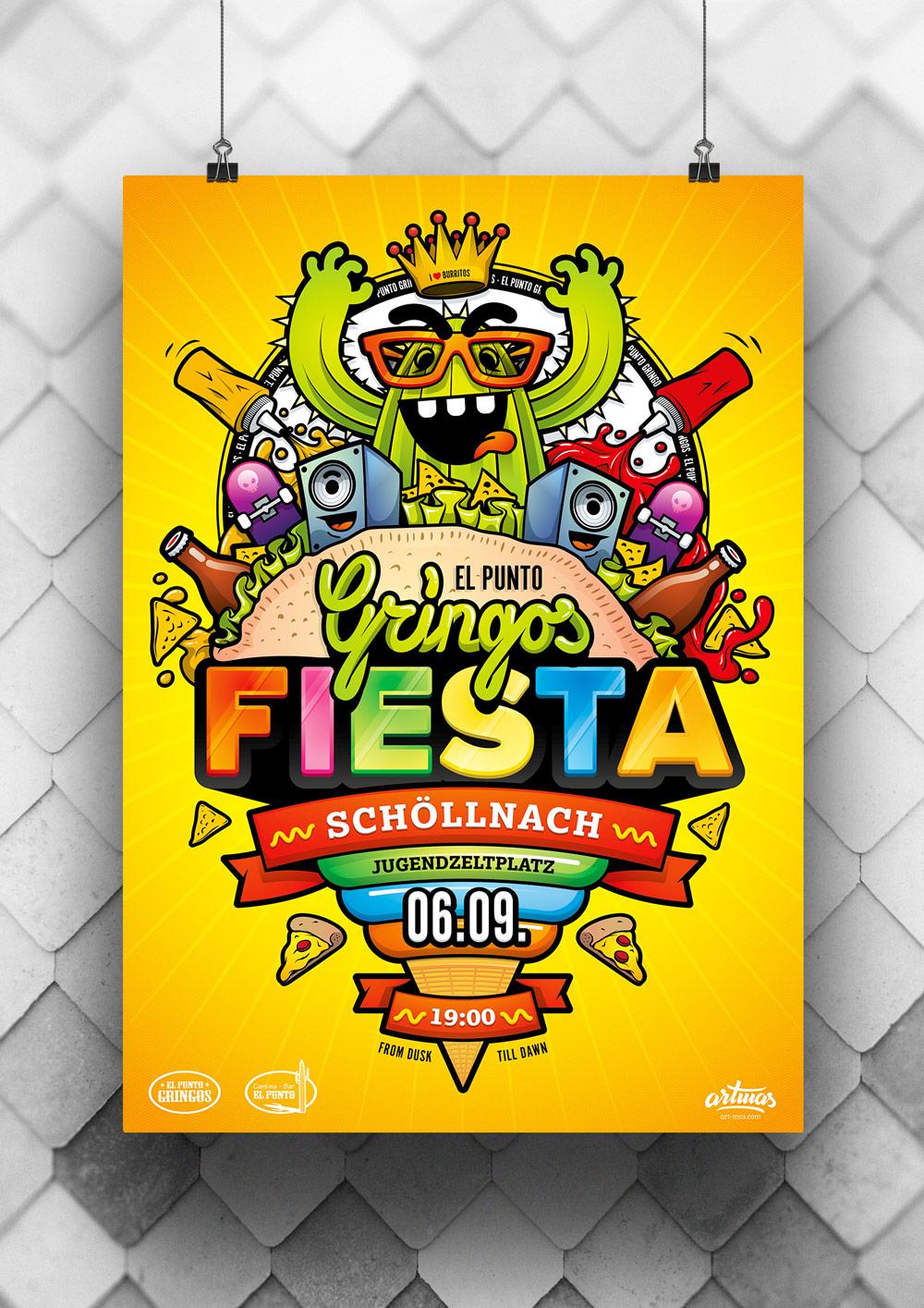 Gringos Fiesta 2014 | Poster | Illustration By Artjom Meister | Art-mas.com