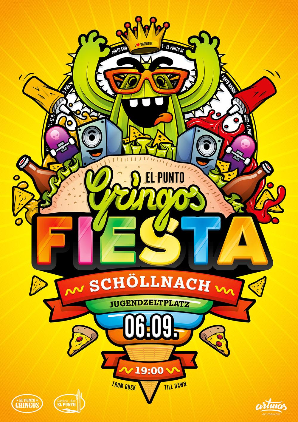 Gringos Fiesta 2014   Poster   Illustration By Artjom Meister   Art-mas.com