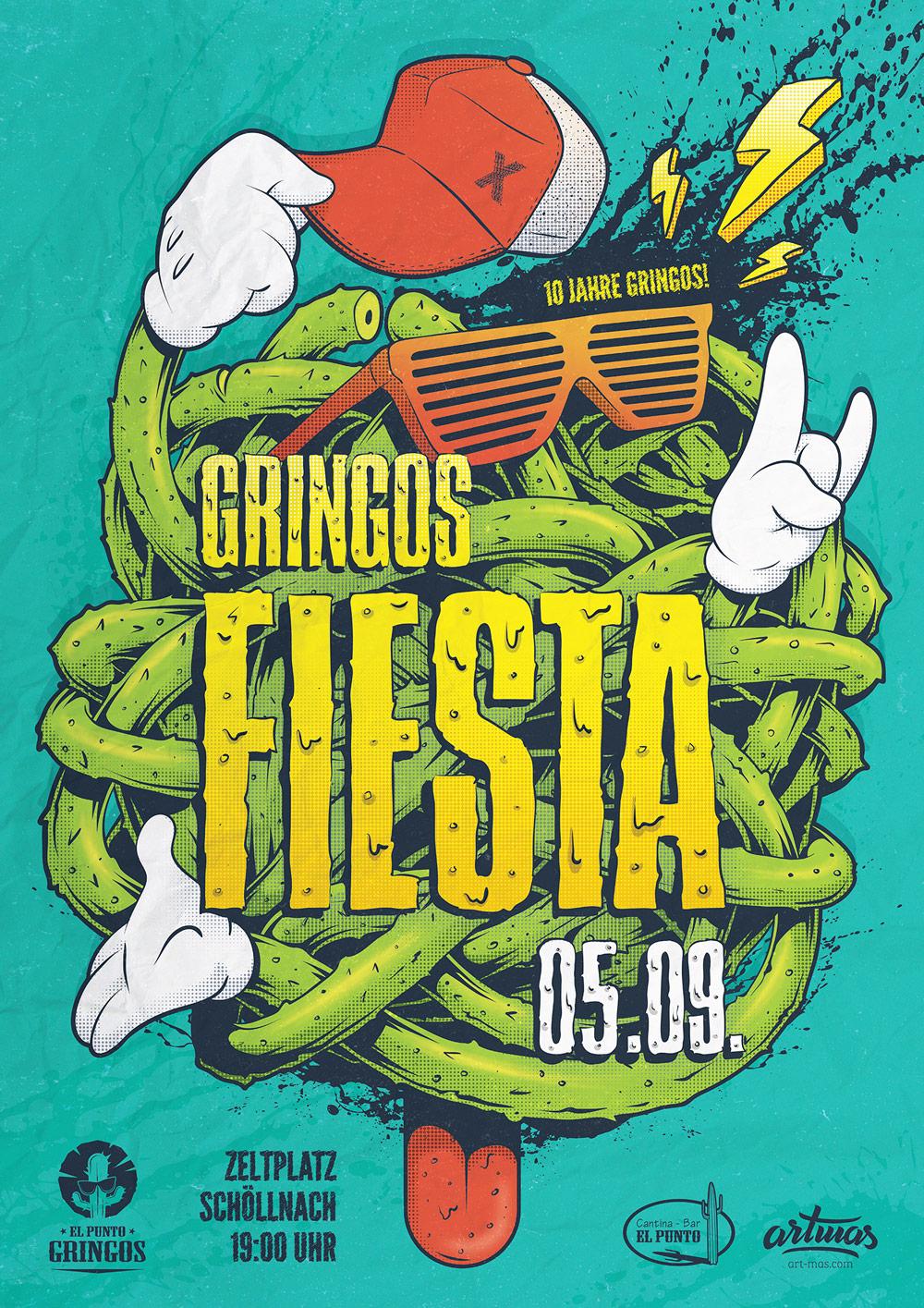 Gringos Fiesta 2015 | Poster | Illustration By Artjom Meister | Art-mas.com