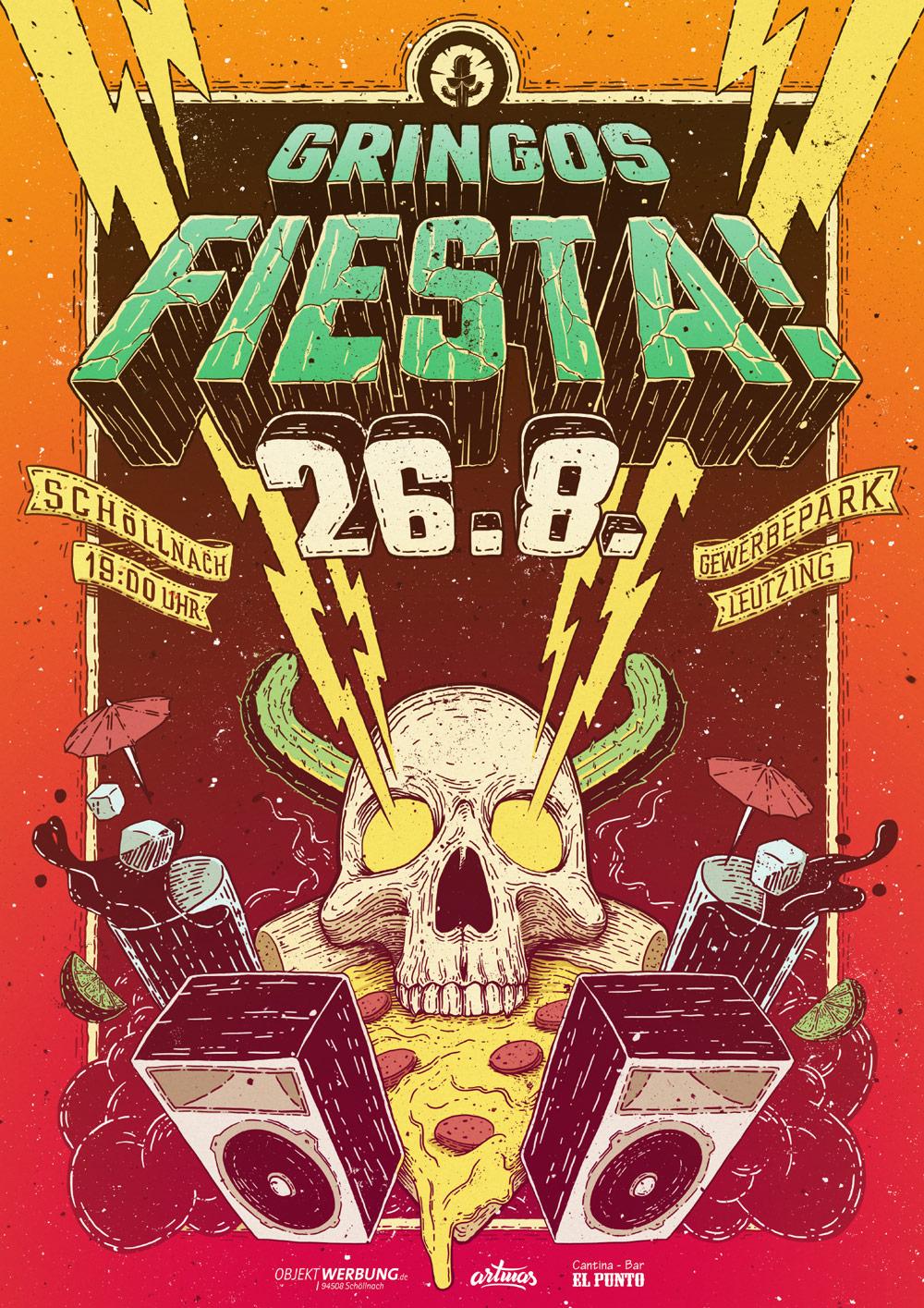 Gringos Fiesta 2017 | Poster | Illustration By Artjom Meister | Art-mas.com