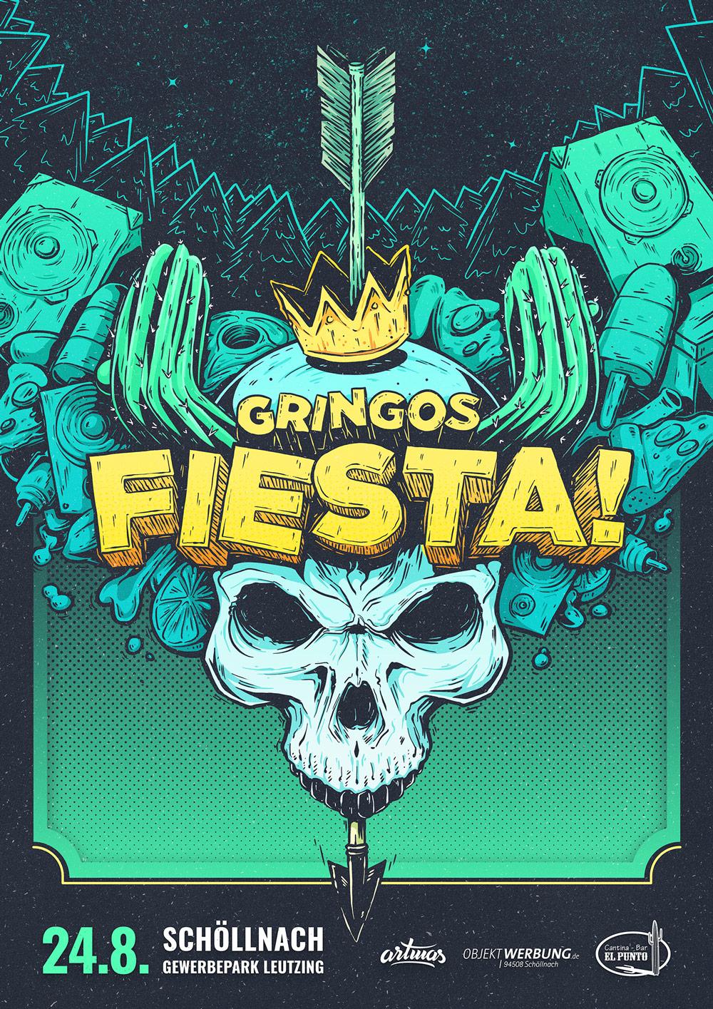 Gringos Fiesta 2019 | Poster | Illustration By Artjom Meister | Art-mas.com